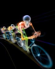 Cycling race, coloured X-ray