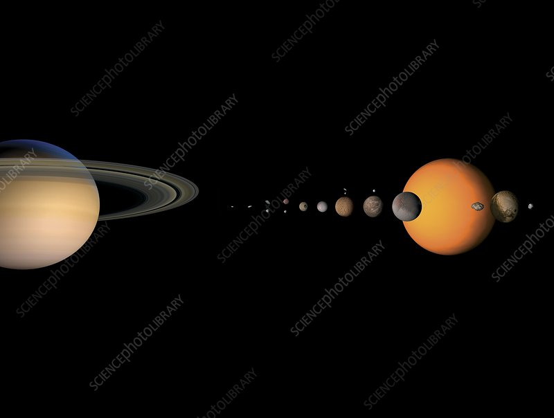 Saturn and its moons, artwork