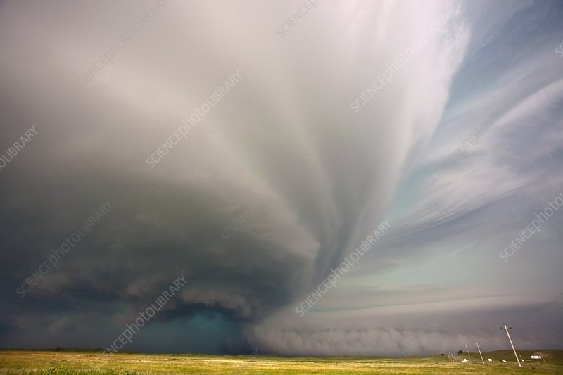 Supercell thunderstorm over fields, USA