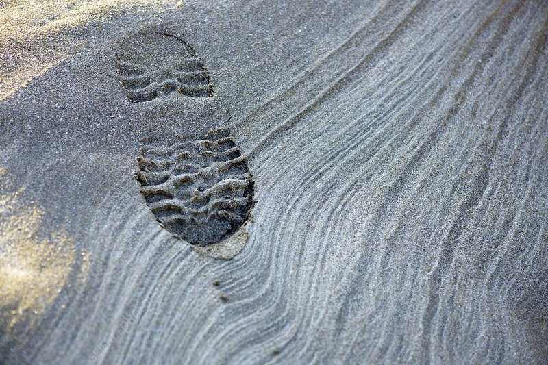 Bootprint and sand patterns at low tide