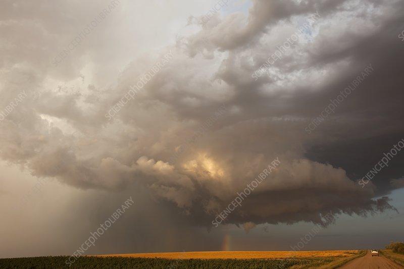 Hailstorm over fields, USA