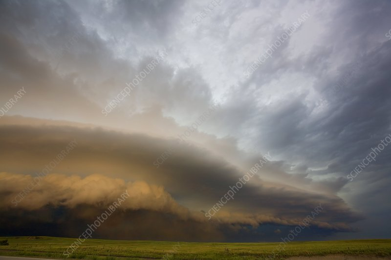 Severe storm over fields, USA
