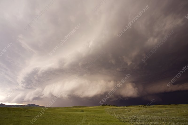 Severe thunderstorm over fields, USA