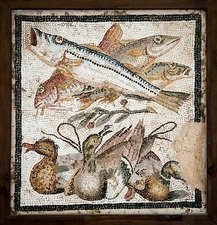 Red mullets and ducks, Roman mosaic