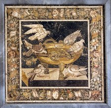 Doves on a drinking vessel, Roman mosaic
