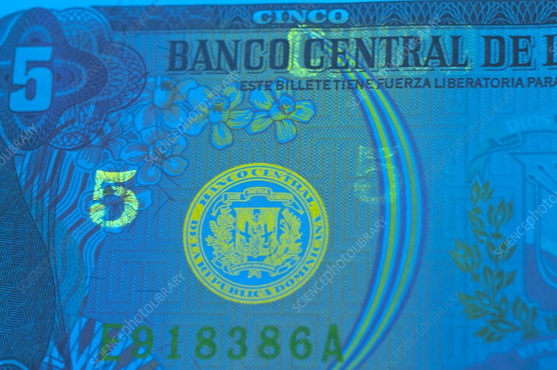 Dominican Republic banknote in UV light
