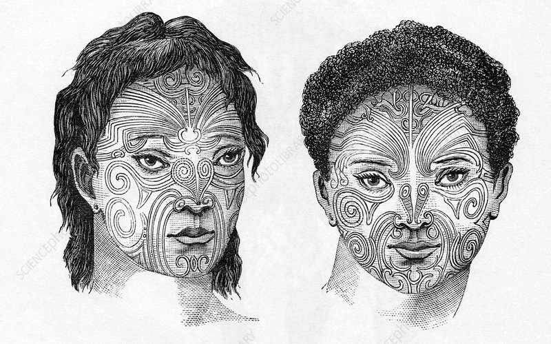 Maori head tattoos, artwork