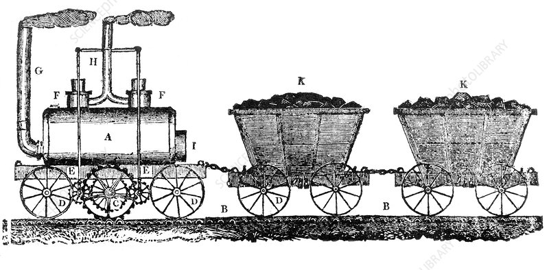 Early steam locomotive, artwork