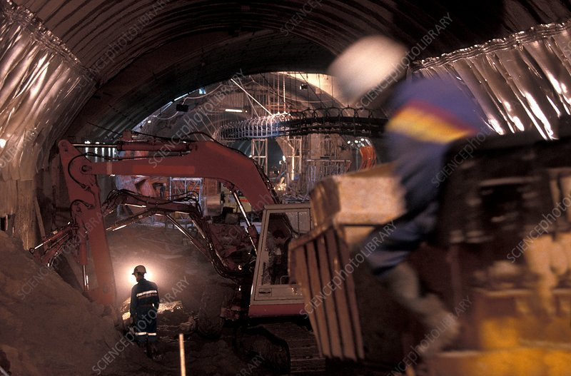 Metro train tunnel construction