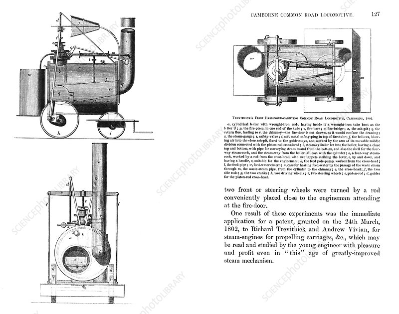 puffing locomotive artwork stock image c003 6932 science photo library
