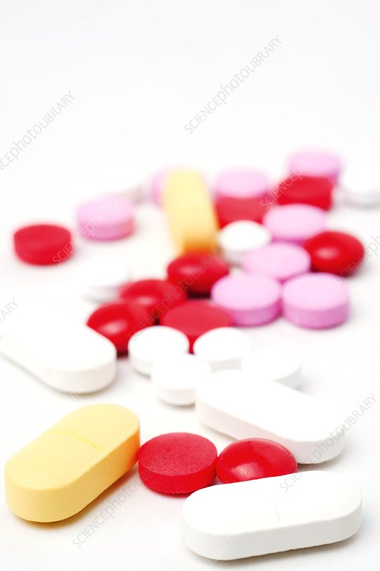 Colourful assortment of pills
