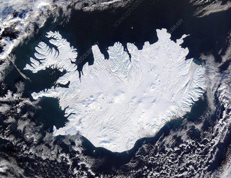 Iceland covered in ice, satellite image