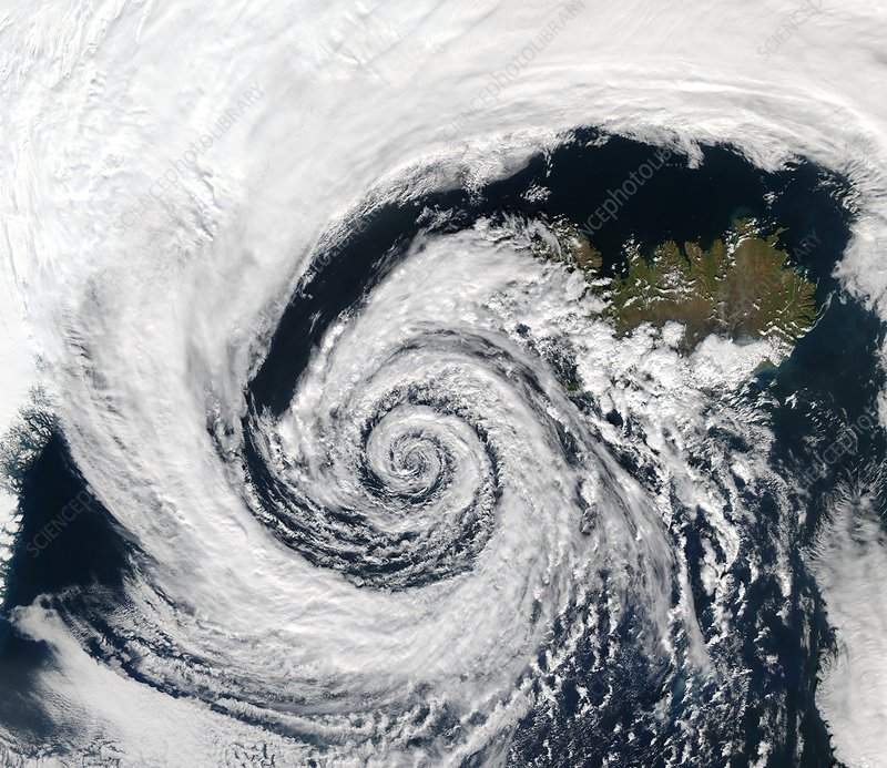Storm over Iceland, satellite image