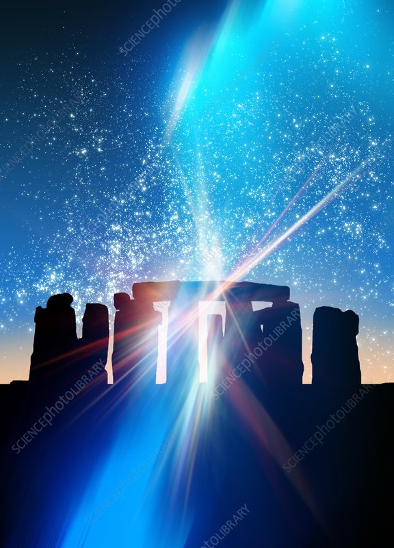 Light flares at Stonehenge, artwork