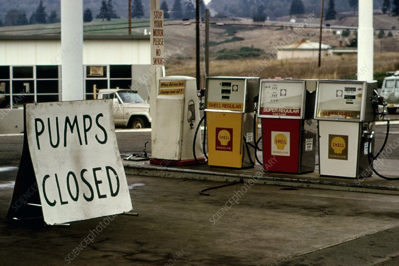 Closed petrol station, 1973 oil crisis