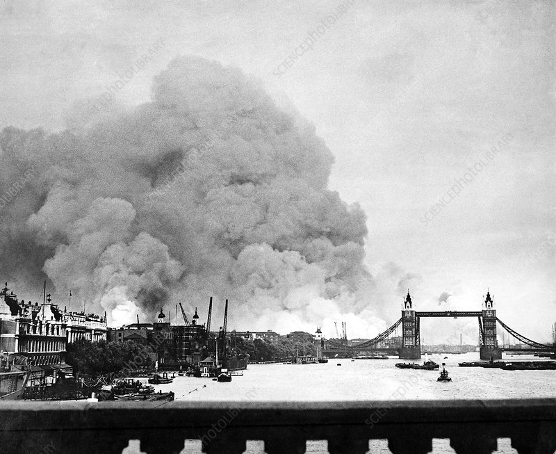 WWII docklands fire, London's East End
