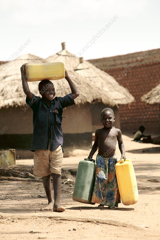Children carrying water, Uganda