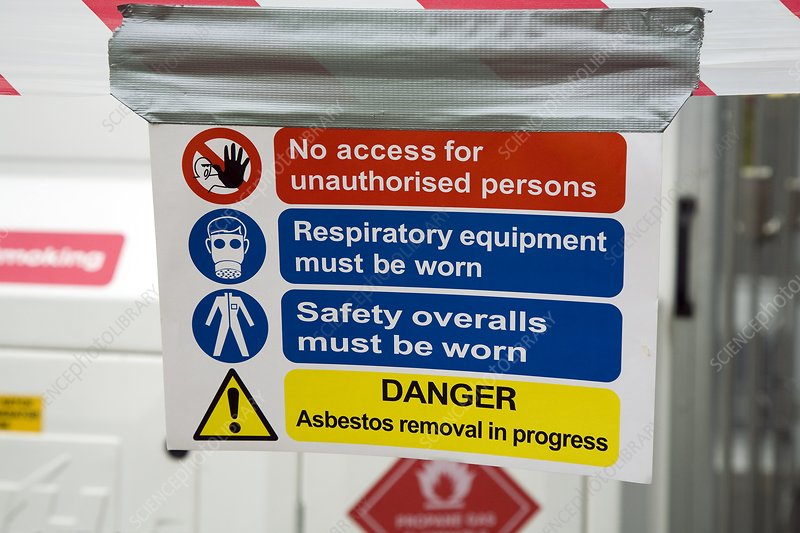 Asbestos removal warning signs