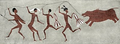 San bushmen rain dance, artwork
