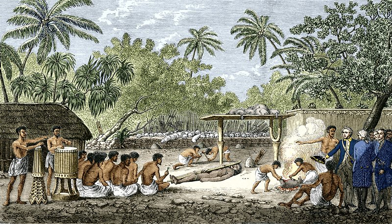 Human sacrifice in Tahiti, artwork