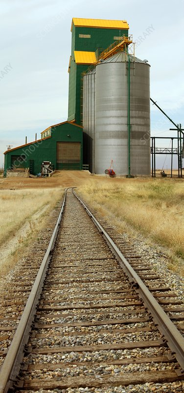 Grain silos and railway track
