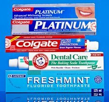 Selection of toothpastes