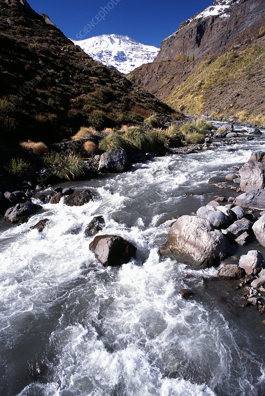 Mapocho River, Chilean Andes Mountains