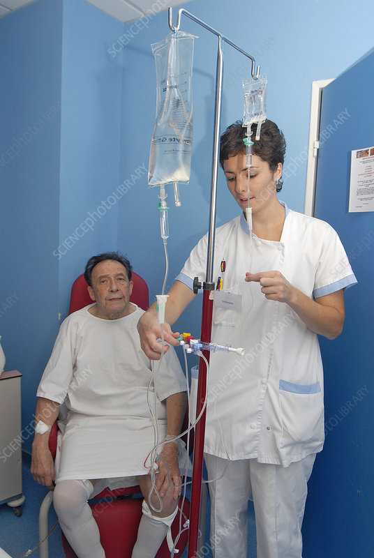 Elderly hosp. patient with nurse