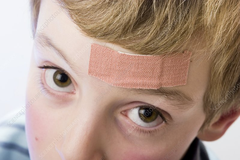 Plaster on a boy's forehead