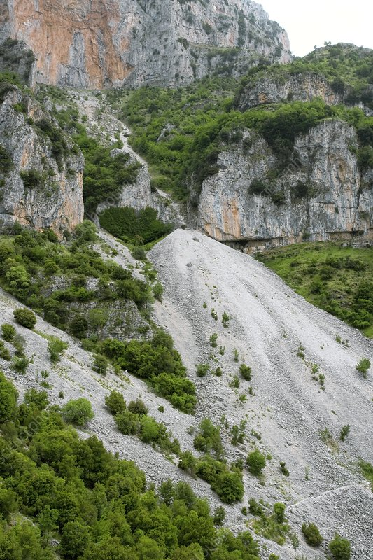 Limestone scree slopes in Greece