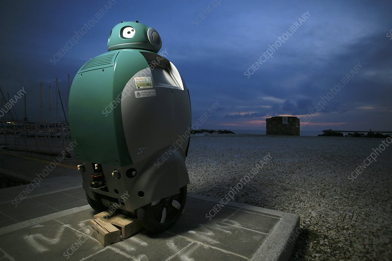 DustBot robot at a beach