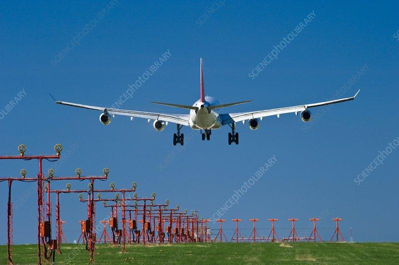 Aeroplane landing, Canada - Stock Image - C004/1635 - Science Photo