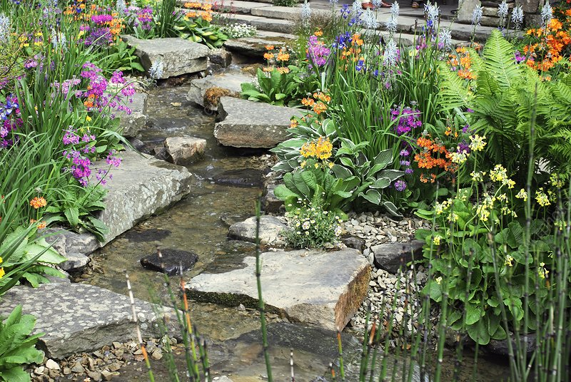 Rock garden and stream
