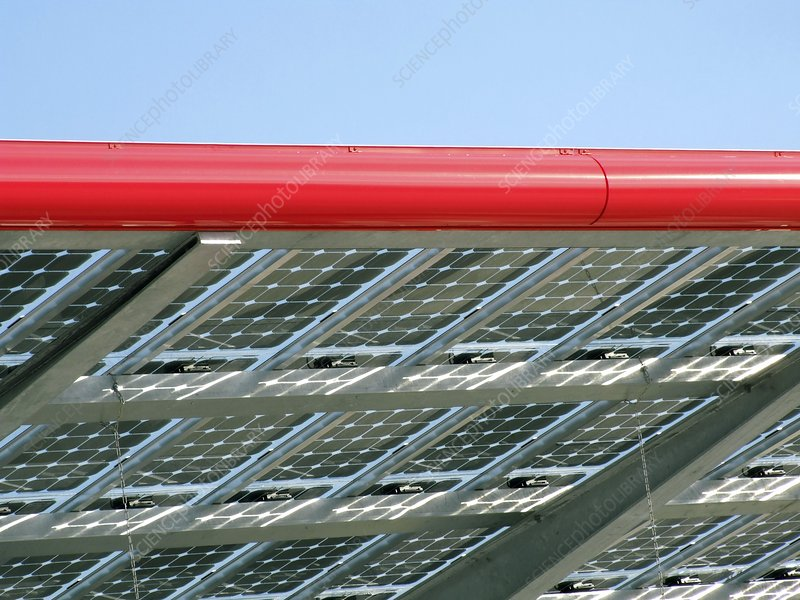 Solar-powered petrol station roof