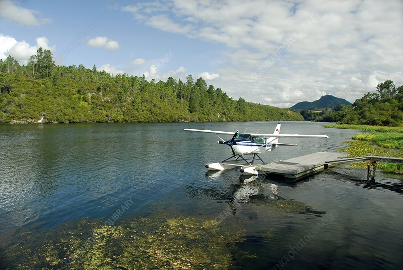 Seaplane moored on a lake, New Zealand