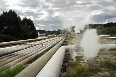 Piping at a geothermal power station