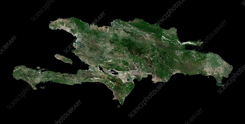 Hispaniola, Caribbean, satellite image