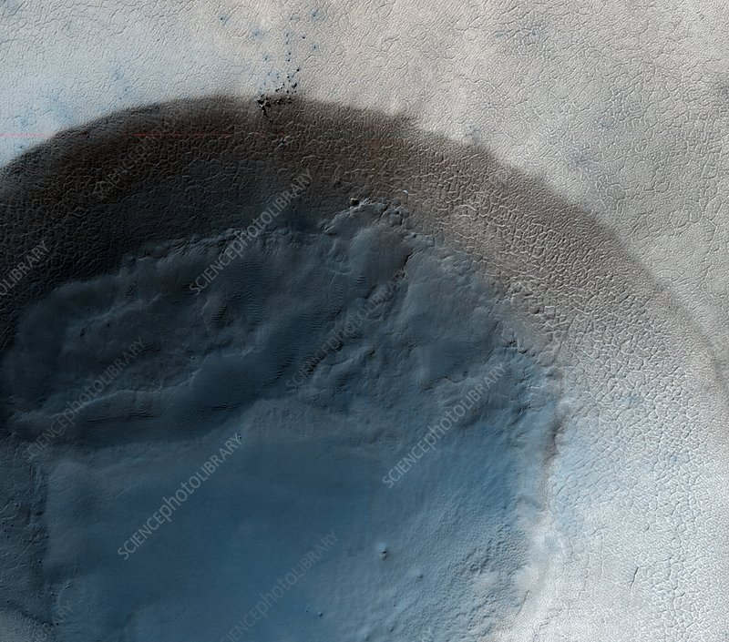 Martian crater, satellite image