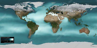 Sea surface salinity, 2005 global map
