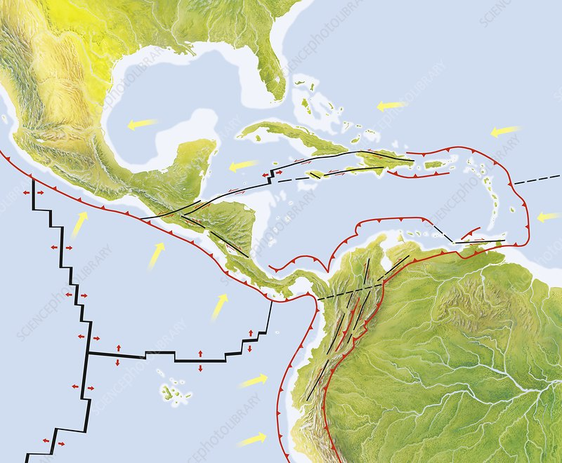 Central America tectonic plates, diagram