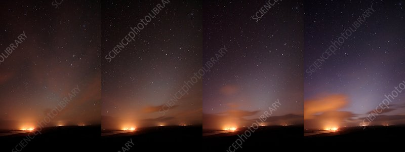 Starlight changes in a night sky