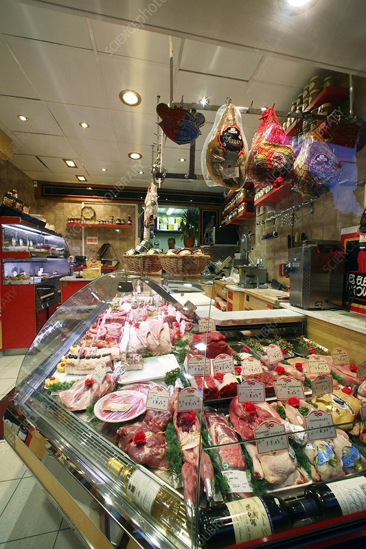 Meat in a butcher shop