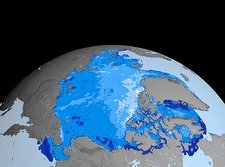 Winter Arctic sea ice thickness, 2003