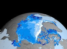 Winter Arctic sea ice thickness, 2005