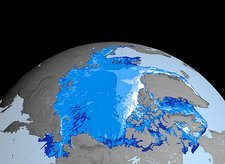 Winter Arctic sea ice thickness, 2007