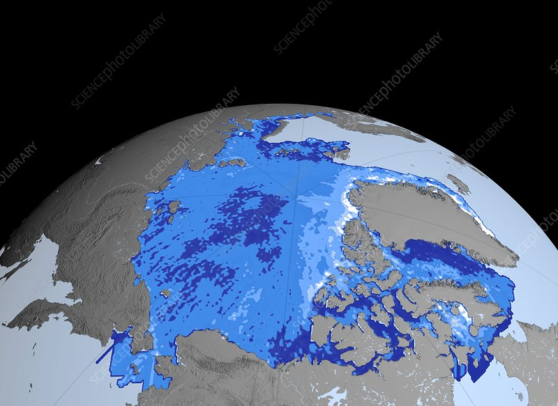 Winter Arctic sea ice thickness, 2008