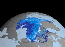 Autumn Arctic sea ice thickness, 2007