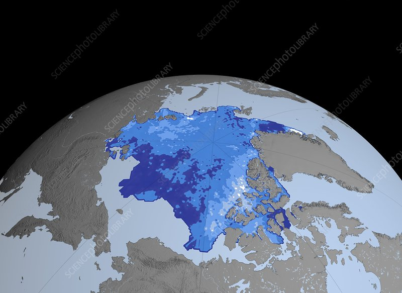 Autumn Arctic sea ice thickness, 2008