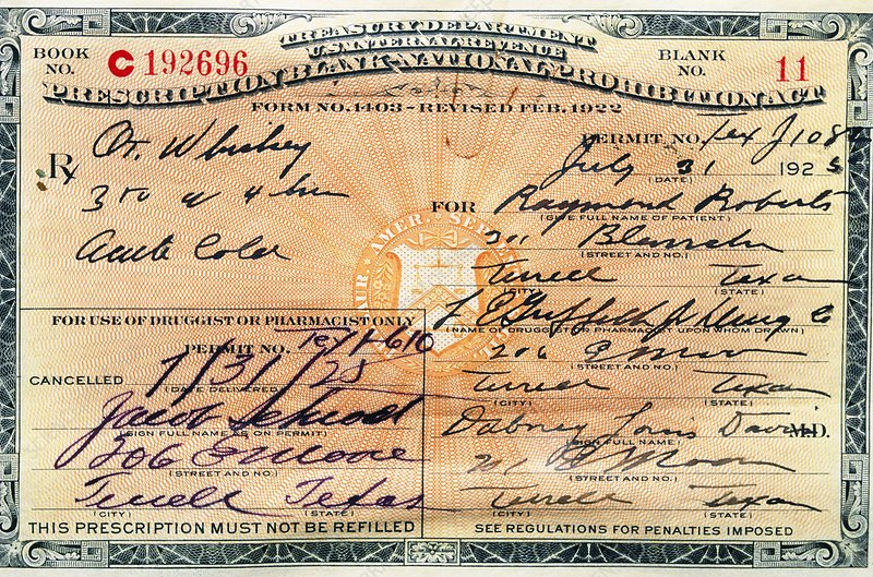 Prohibition whiskey prescription, 1925