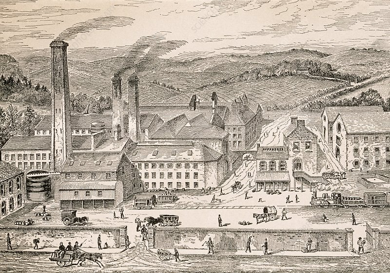 Whiskey distillery, historical artwork